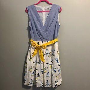 Blue, white and yellow sailboat dress